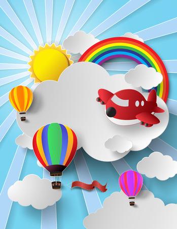 Vector illustratie hete lucht ballon en vliegtuig hoog in de hemel met rainbow.paper gesneden stijl.