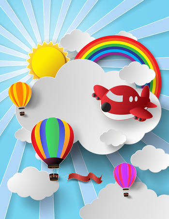 cloud cover: Vector illustration hot air balloon and air plane high in the sky with rainbow.paper cut style.