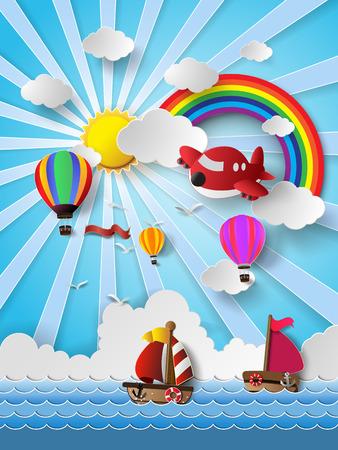 mosca caricatura: Ilustraci�n del vector de transporte de viaje estilo de corte .paper. Vectores