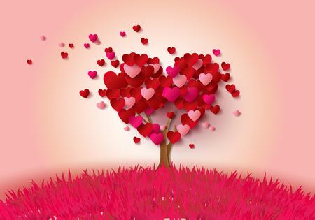Árbol de amor con el estilo de corte leaves.paper corazón.