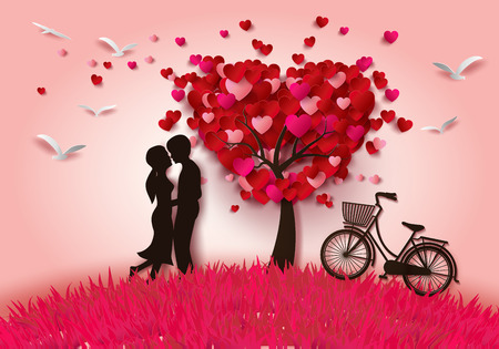 romance: Векторная иллюстрация двух влюбленных под дерево любви, вырезать из бумаги стиле. Иллюстрация