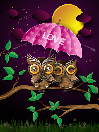 Vector backgrounds with couple of owls on the branch under full moon. Vector