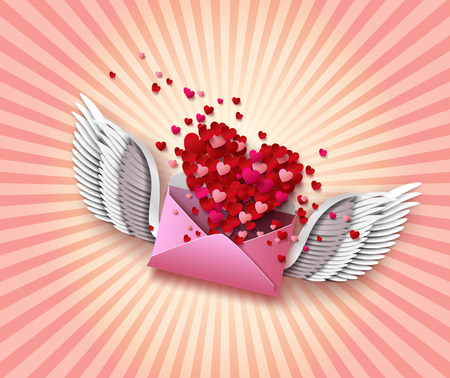 red winged: Flying envelope to Valentines Day.pape cut style.