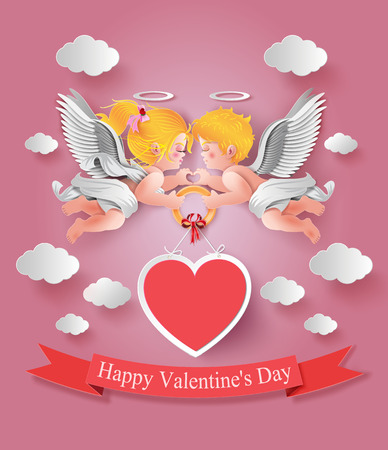Vector illustration of cute boy and girl cupids. paper cut style. Vector