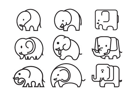 siluetas de elefantes: Elefante esquema logotipo divertido vector