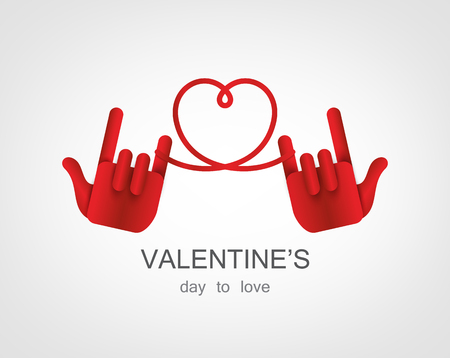 looped shape: Hand Love vector for valentines day .