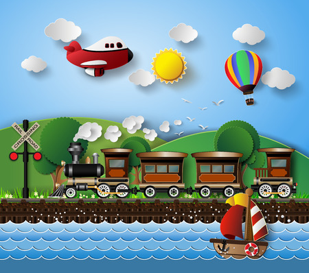 sunlight on cloud with Transport and Vehicles.paper cut style. 일러스트
