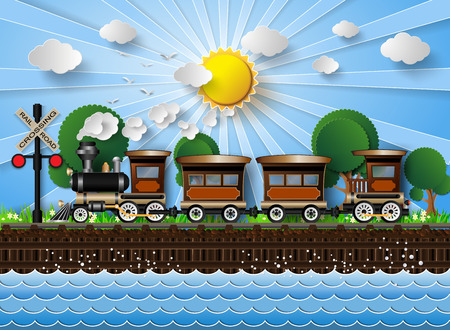 train engine: train on a background of sunshine.paper cut style.