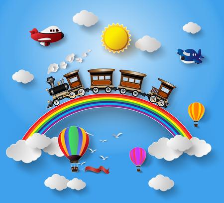 전송 및 Vehicles.paper와 구름에 햇빛 스타일을 잘라. 일러스트