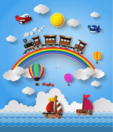 Vector illustration de transport de Style de Voyage .paper de coupe. Banque d'images - 36457408
