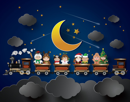 Children in fancy dress Sitting on the train, with a background as a half moon. Vector