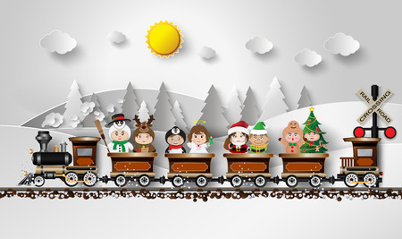 land: Children in fancy dress Sitting on the train, with a background as a snow mountain.