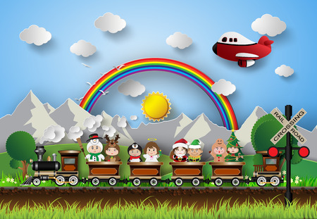 Children in fancy dress sitting on a train running on the tracks. With the background rainbow. Vector