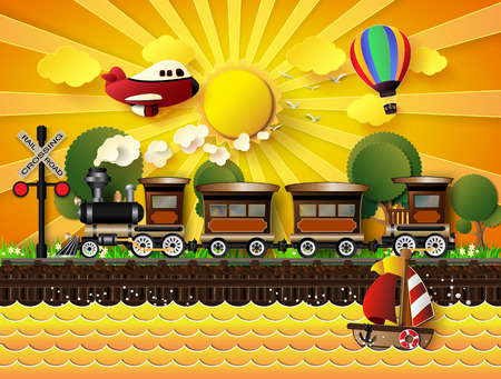 cartoon land: The train was running on rails. In the backdrop of the sunset.