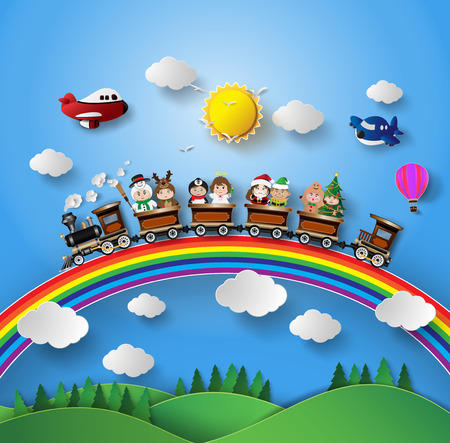 Children in fancy dress sitting on a train that was running on a rainbow. Vectores