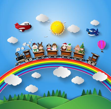 tren caricatura: Los ni�os en traje de fantas�a que se sienta en un tren que se estaba ejecutando en un arco iris.