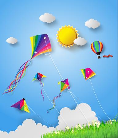 하늘에 비행 다채로운 연.