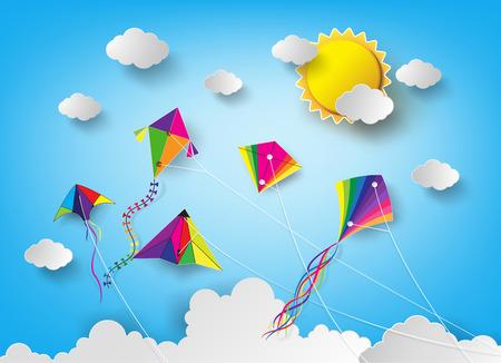 空にカラフルな凧揚げ。