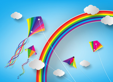 string together: Colorful kite flying on the sky.