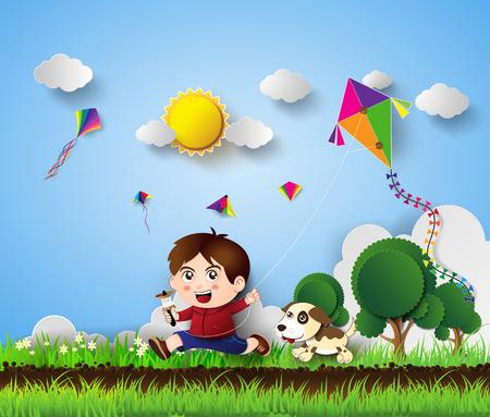papalote: ilustraci�n de un ni�o jugando con estilo de corte kite.paper.