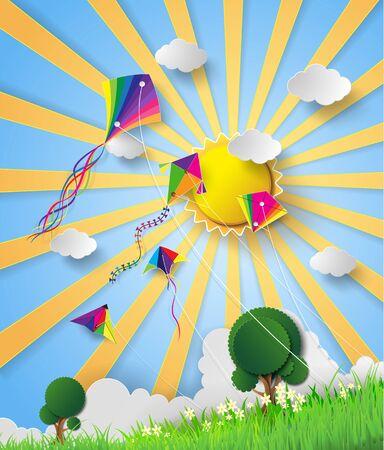 papalote: la cometa en el cielo con el sol. estilo de corte de papel Vectores