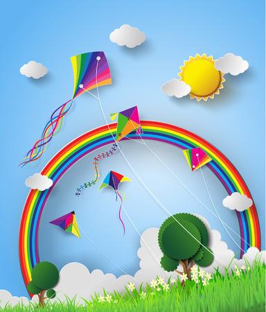 papalote: Coloridos cometas volando en el cielo.