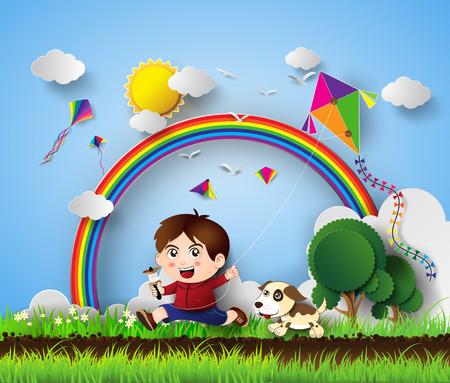 pull toy: ilustración de un niño jugando con la cometa .paper estilo de corte.