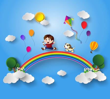 dessin enfants: illustration d'un enfant qui joue au cerf-volant .paper style de coupe.