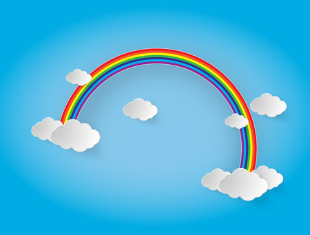 rainbow: rainbow and clouds in the sky.paper cut style. Illustration