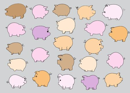 vecter: vecter set of pig. Illustration