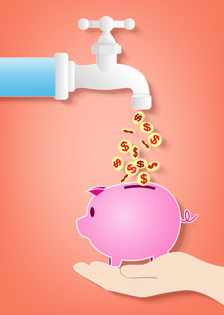 tap water: Money fall out of the  tap into piggy bank