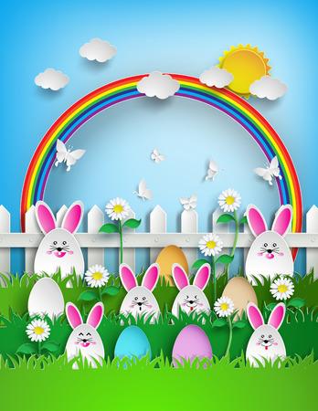 huevos de pascua: Fondo de Pascua con los huevos y el conejo en la hierba con el arco iris