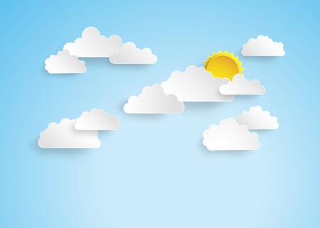 Blauwe hemel met clouds.pape gesneden stijl.