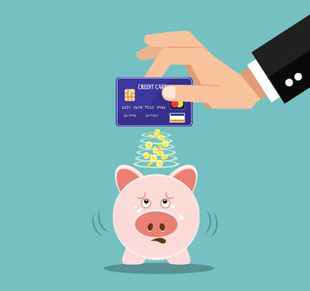 holding credit card: Hand holding credit card and piggy