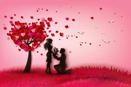 enamored: Vector illustration two enamored under a love tree,paper cut style.