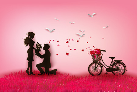 romance: couple silhouette with hearts.peper cut style. Illustration
