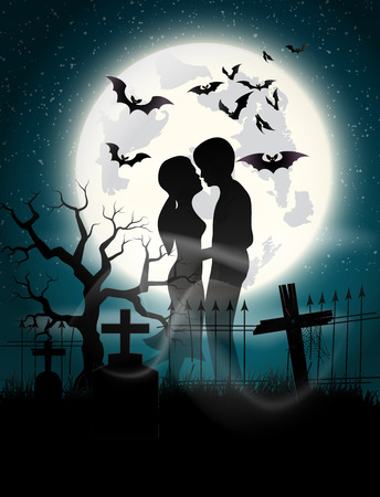 Soul lovers in the moonlight at the full moon on Halloween. Vector
