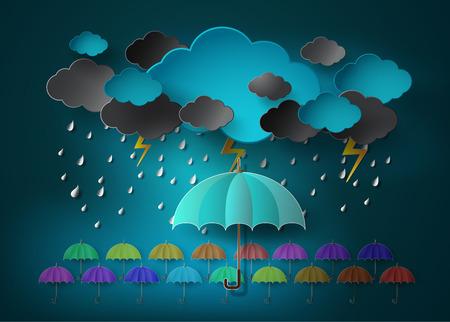 umbrella with heavy fall rain in the dark sky.paper cut style.