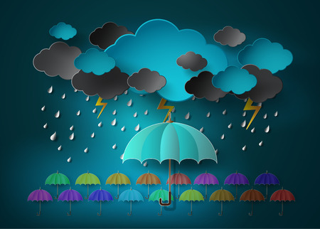 storm rain: umbrella with heavy fall rain in the dark sky.paper cut style.
