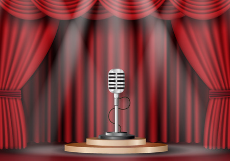 musical theater: illustation of microphone on stage curtain.