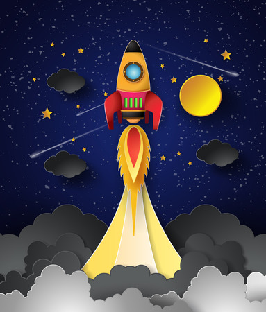 Space rocket launch on full moon. Vector illustration