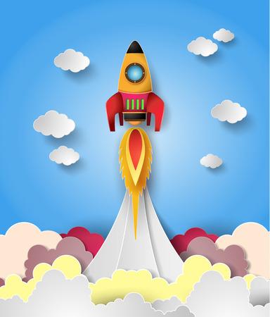 Space rocket launch. Vector illustration