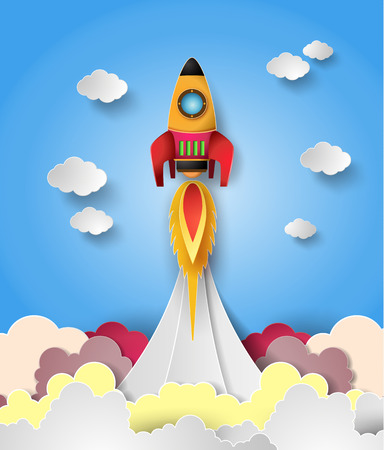 Space rocket launch. Vector illustration
