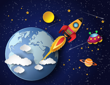 brandweer cartoon: Ruimte raket lanceren en melkweg. Vector illustratie
