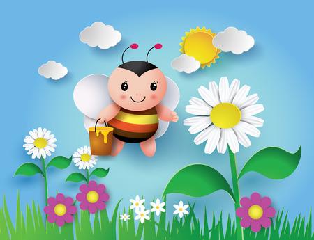 honey pot: happy cartoon bee flying around with a brimful jar of delicious honey