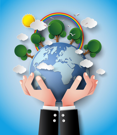 pollution: concept of  green eco earth and hand . Illustration