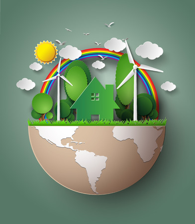 Green Eco Earth. paper cut style.