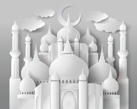 рамадан: Вектор мечети бумаги. Перевод: Рамадан Карим