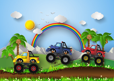 A vector illustration of monster truck racing. Vectores