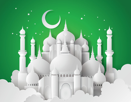 hari raya aidilfitri: Vector of Paper Mosque. Translation: Ramadan Kareem